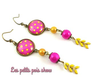 Fuschia pink and yellow earrings