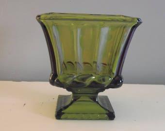 VINTAGE GREEN GLASS Pedestal Vase/Bowl