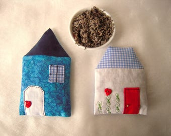 Set of two Lavender sachets in the shape of houses, blue tones