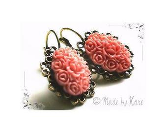 Romantic old Rose Vintage romantic Vintage flower cameo earrings