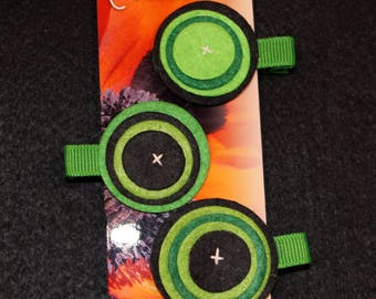 Set of 3 hair clip made of felt circles.