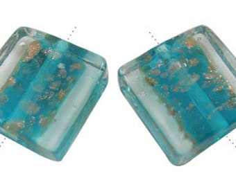 Handmade Lampwork Beads, with Gold Sand, Square, Teal