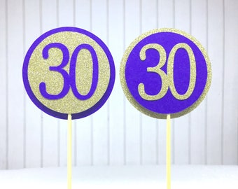 "30th Birthday Cupcake Toppers - Gold Glitter & Violet Purple ""30"" - Set of 12 - Elegant Cake Cupcake Age Topper Picks Party Decorations"