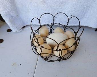 Antique Basket of Farmhouse Eggs
