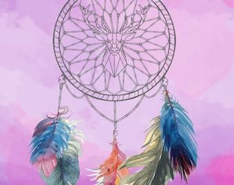 Dream Catcher Art Print,Purple,Watercolor,Feathers,Deer,Decor