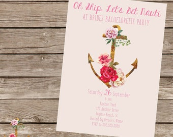 watercolor nautical bachelorette invitation