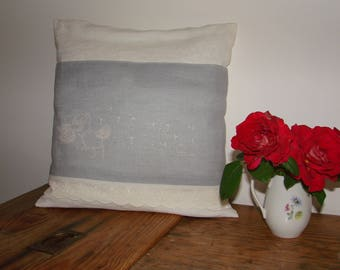 Cross stitch Embroidery and old sheet pillow cover