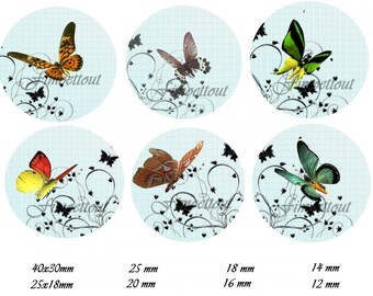 48Image cabochon digital butterflies, oval and round (send email)