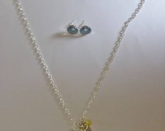 Silver set necklace and earrings Green/gold theme star