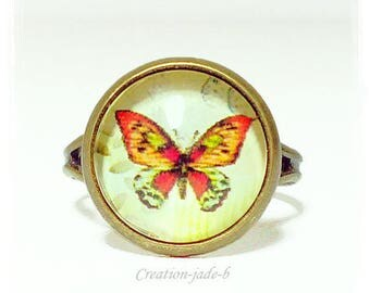 Adjustable ring - Butterfly Cabochon red and Orange