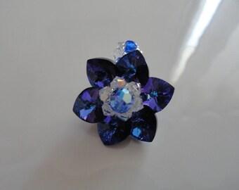 Ring Lily Heliotrope Swarovski Crystal beads