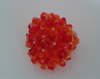 Oval Ring orange Fire Opal Swarovski Crystal beads