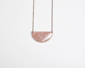 Orange/peach coloured glitter resin necklace LUNA