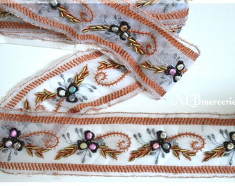 Stripe white, embroidered with bronze sequins and beads 80 mm