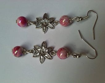 Romantic earrings pink and silver