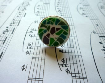 Green mosaic ring