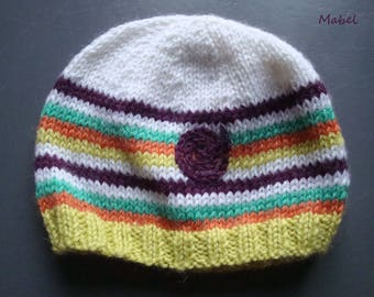 Hat white baby girl or boy, stripes, lemon, green, orange and plum