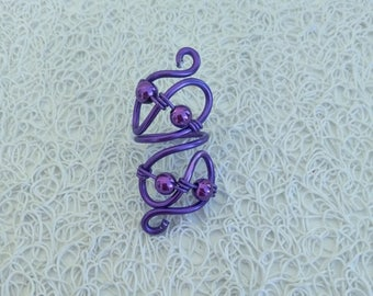 ring made of aluminum and purple beads