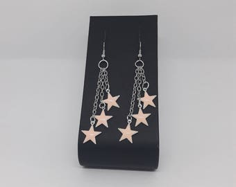 Pink sequin star and chain earrings