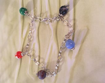 With Murano glass beads charm bracelet