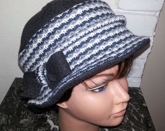 """Cloche"" boiled wool and knit hat"