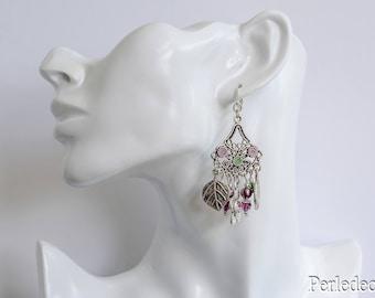 """Your Amethyst swarovski crystal earrings """"foliage"""""""