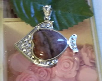 1 pendant in brass and agate 35x40mm hole 6mm