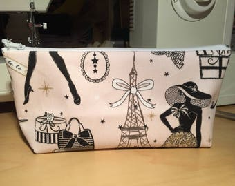 "Handmade zippered pouch ""Pink Parisian"""