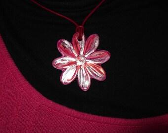 reversible painted porcelain rose flower cameo pendant