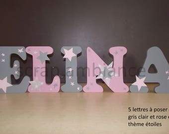 wood letter, name wooden letter to ask, custom letters Star theme