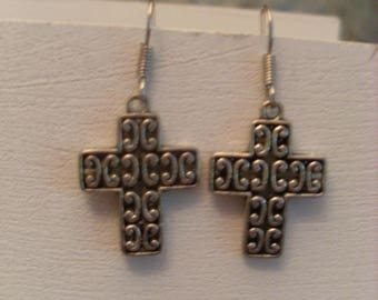 Small cross earrings silver