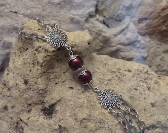 Crystal silver bracelet double plums and connectors