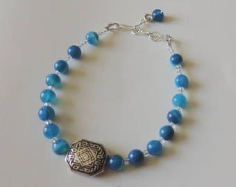 Bracelet blue jade and Pearl harmony