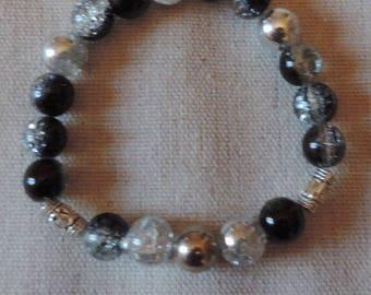 Glass mirror beads elastic bracelet