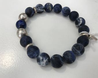 Handmade bracelet from stone desodalite lapis and silver