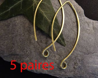 5paires (10pcs) large dangle hoop to add a stone or a brushed brass charm