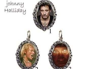 silver lace pendant under domed glass Johnny Hallyday