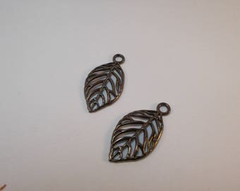 1 set of 2 charms DQ leaf shaped