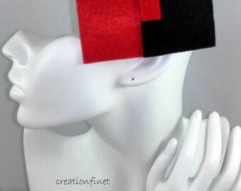 """large barrette """"red and black"""" felt"""
