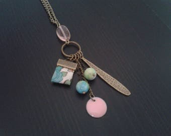 bronze, green and pink pendant necklace