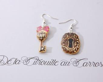 Golden key and lock earrings