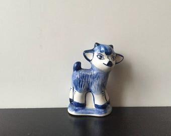 Vintage porcelain figurine; Gzhel goat sheep figurine; Soviet porcelain figurine; Collectibles white and blue figurine.