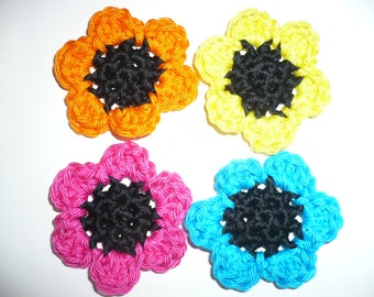 set of 4 crocheted applique flower crochet applique flowers