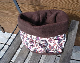 Collar warm snood for children, reversible, elegant with its floral fabric lined with Brown fleece