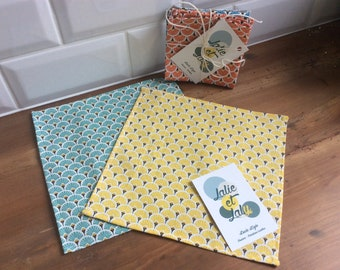 Set of 5 handkerchiefs child - fan patterned 5 fabrics - 5 colors