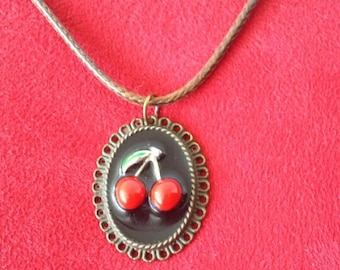 Resin cherry necklace black rockabilly pin up vintage lolita punk