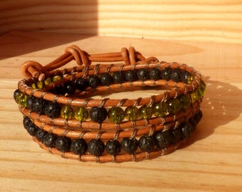 Wrap bracelet leather cord 2 turns beads