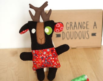 Plush Eugene reindeer - red and Brown