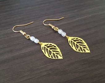 White leaf Earrings
