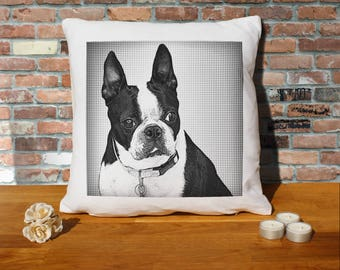 Boston Terrier Dog Pillow Cushion - 16x16in - White